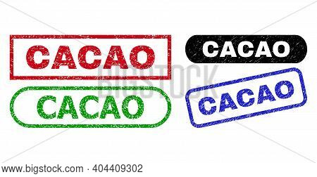Cacao Grunge Seal Stamps. Flat Vector Scratched Seal Stamps With Cacao Caption Inside Different Rect