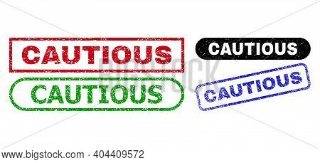 Cautious Grunge Seal Stamps. Flat Vector Distress Seal Stamps With Cautious Phrase Inside Different