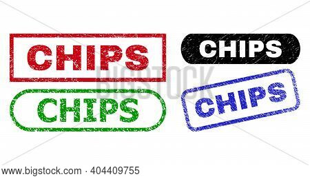 Chips Grunge Watermarks. Flat Vector Distress Watermarks With Chips Caption Inside Different Rectang