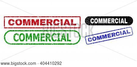 Commercial Grunge Watermarks. Flat Vector Grunge Seals With Commercial Text Inside Different Rectang