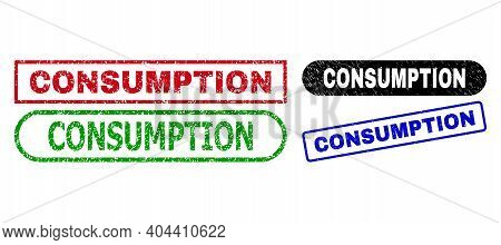 Consumption Grunge Seal Stamps. Flat Vector Scratched Seal Stamps With Consumption Caption Inside Di