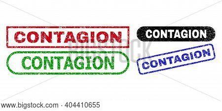 Contagion Grunge Seals. Flat Vector Scratched Seals With Contagion Phrase Inside Different Rectangle