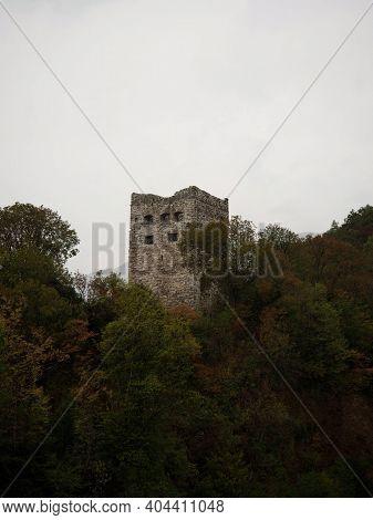Panorama View Of Medieval Historic Castle Ruins Tower Belfry Burg Schloss Blatten In Oberriet St Gal