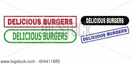 Delicious Burgers Grunge Stamps. Flat Vector Distress Stamps With Delicious Burgers Text Inside Diff