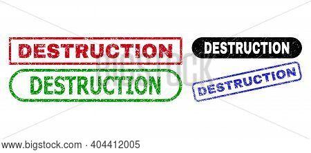 Destruction Grunge Seal Stamps. Flat Vector Grunge Stamps With Destruction Caption Inside Different