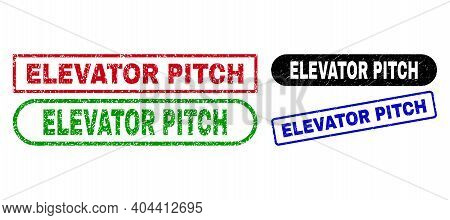 Elevator Pitch Grunge Seals. Flat Vector Textured Watermarks With Elevator Pitch Text Inside Differe
