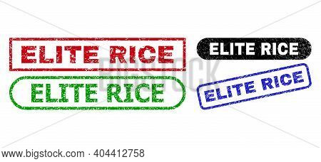 Elite Rice Grunge Stamps. Flat Vector Grunge Stamps With Elite Rice Phrase Inside Different Rectangl