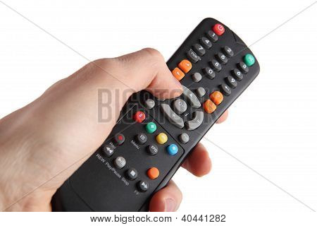 Tv remote control isolated on white background poster
