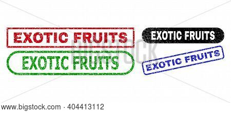 Exotic Fruits Grunge Stamps. Flat Vector Grunge Seal Stamps With Exotic Fruits Message Inside Differ