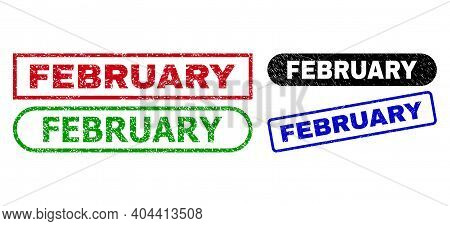 February Grunge Stamps. Flat Vector Grunge Stamps With February Caption Inside Different Rectangle A