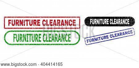 Furniture Clearance Grunge Watermarks. Flat Vector Distress Watermarks With Furniture Clearance Text