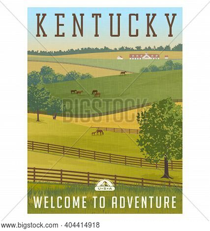 Kentucky, United States Retro Travel Poster Or Sticker. Scenic Farm Landscape With Rolling Hills, Ho