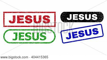 Jesus Grunge Seal Stamps. Flat Vector Grunge Seal Stamps With Jesus Title Inside Different Rectangle