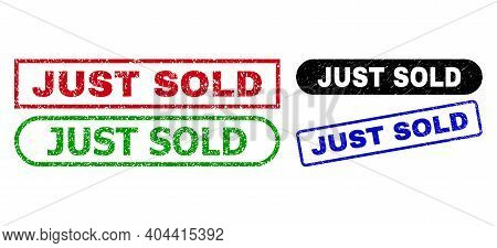 Just Sold Grunge Seal Stamps. Flat Vector Textured Seal Stamps With Just Sold Phrase Inside Differen