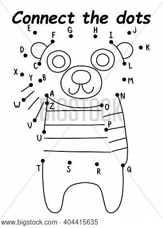 Childish Dot-to-dot Game With Bear Stock Vector Illustration. Connect The Dots Game With Bear In Swe