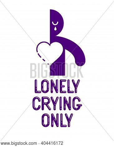 Half Of Man Icon With Heart Lonely And Missing His Mate Lover Girlfriend, Divorce Breakup And Loneli