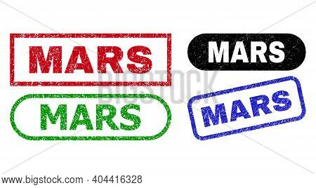 Mars Grunge Seal Stamps. Flat Vector Grunge Watermarks With Mars Phrase Inside Different Rectangle A