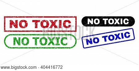 No Toxic Grunge Seal Stamps. Flat Vector Distress Seal Stamps With No Toxic Title Inside Different R