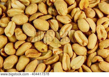 Peanut. Peanuts Close Up. Roasted Fragrant Delicious Salted Grains Of Peanuts With Seasoning.