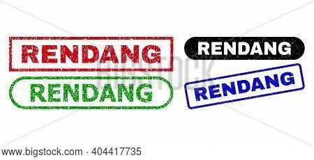 Rendang Grunge Watermarks. Flat Vector Grunge Watermarks With Rendang Title Inside Different Rectang