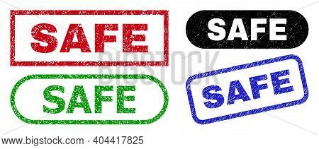 Safe Grunge Watermarks. Flat Vector Grunge Watermarks With Safe Message Inside Different Rectangle A