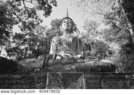 Phayao, Thailand - Dec 6, 2020: Low Angle Black And White Front Meditation Buddha Statue In Green Fo