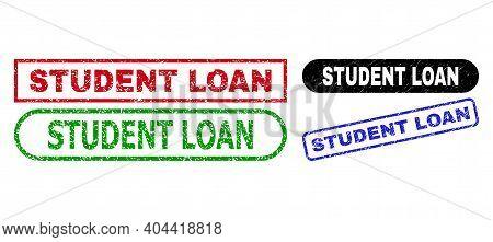 Student Loan Grunge Watermarks. Flat Vector Grunge Watermarks With Student Loan Tag Inside Different