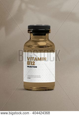 Vitamin B12 injection amber glass bottle with luxurious label for health and wellness product packaging