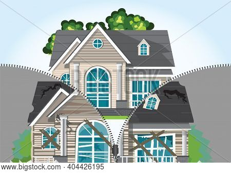 The Zipper Is Unfastened And A Renovated House Is Visible.home Renovation. House Before And After Re