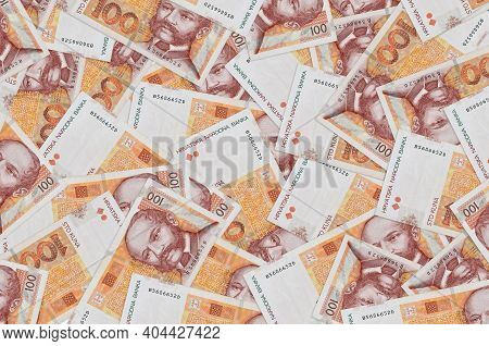 100 Croatian Kuna Bills Lies In Big Pile. Rich Life Conceptual Background. Big Amount Of Money