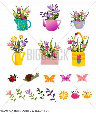 Set With Spring Flowers. Flowers In A Jug, Teapot, Watering Can, Cup And Insects. Vector Illustratio