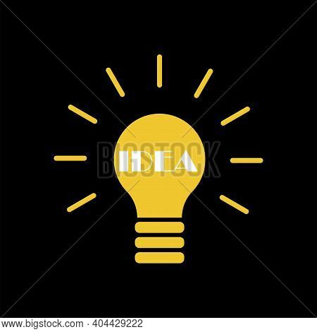 Yellow Light Bulb On Black Background. Solution, Idea Icon Symbol. Stock Image. Eps 10.