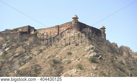 View Of Walls Of Jaigarah Fort From Amer Fort In Jaipur