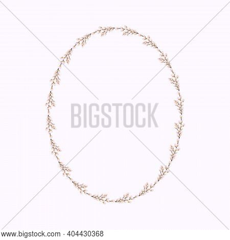 Oval Wreath Of Willow. Willow Wreath.easter Wreath Made Of Willow Stalks.vector Flat Illustration. D