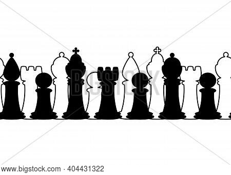 Seamless Border With Chess Pieces. Vector Background With Chess King, Queen, Rook, Bishop, Knights,
