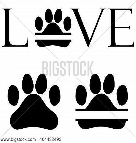 Three Versions Of An Animal's Paw. Inscription Love With An Image Of An Animal's Paw. Dog Or Cat Paw