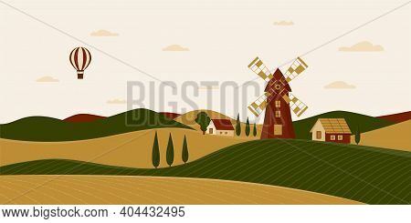 Rural Landscape With Windmill And Farmhouses. Vector Illustration Of The Italian Countryside. Horizo