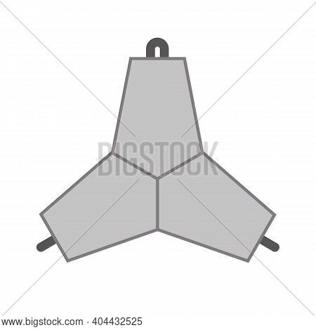 Concrete Tetrapod, Construction For Coastal Protection. Vector Isolated On White.