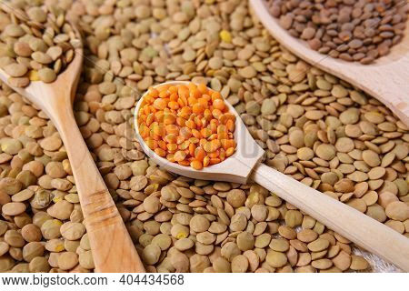 Red Lentils Or Masoor Dal In Wooden Bowl. Top View. Flat Lay. Colorful And Stylish Composition. Vege