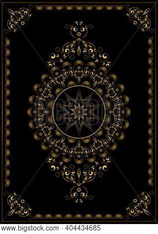 Vintage Luxury Gold Frame With Gold Swirls Of Ornament, Beads And A Radiant Star In The Center On A
