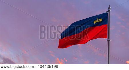 3d Rendering Of The National Flag Of The Liechtenstein
