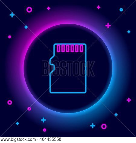 Glowing Neon Line Micro Sd Memory Card Icon Isolated On Black Background. Colorful Outline Concept.