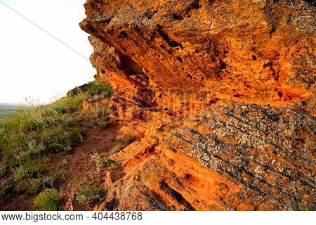 Rock Erosion. Weathered Of Ground And Stones. Geological Formations.