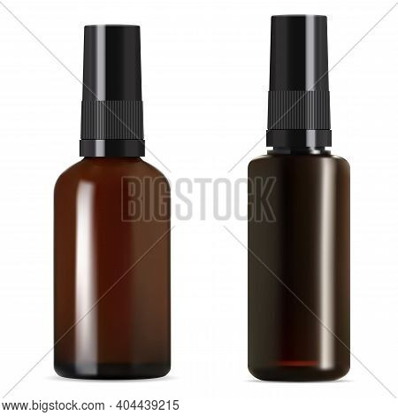 Brown Glass Bottle. Medical Syrup Amber Vial With Screw Cap. Realistic Essential Oil Bottles 3d Mock