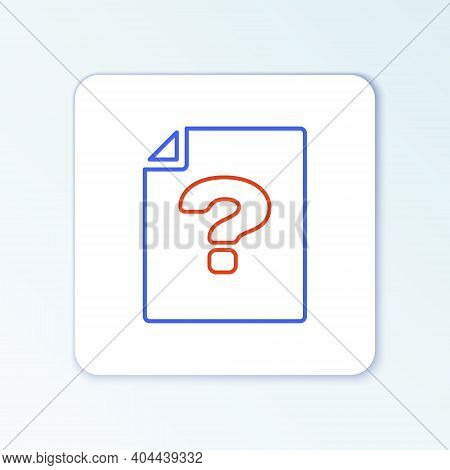 Line Unknown Document Icon Isolated On White Background. File With Question Mark. Hold Report, Servi