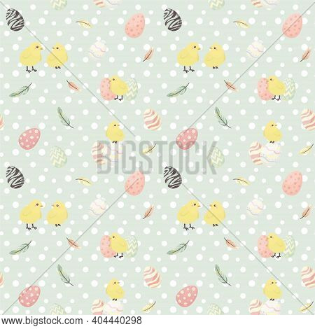 Easter Seamless Pattern With Flowers And Holiday Eggs.