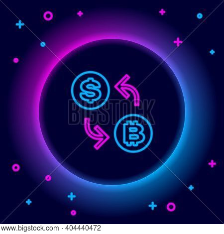 Glowing Neon Line Processor Chip With Dollar Icon Isolated On Black Background. Cpu, Central Process