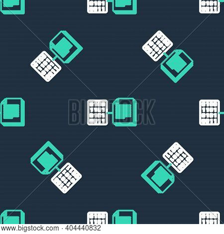 Line Smart Contract Icon Isolated Seamless Pattern On Black Background. Blockchain Technology, Crypt
