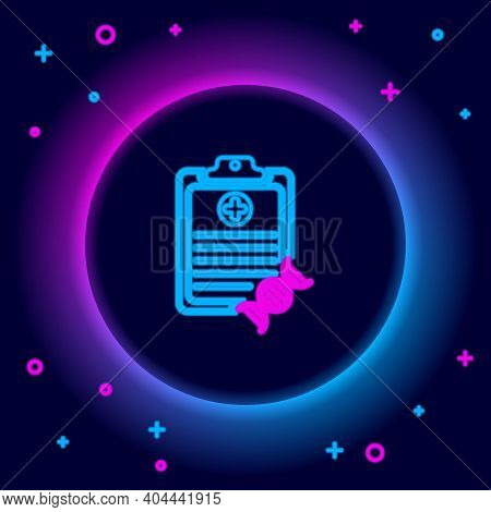 Glowing Neon Line Clipboard With Dna Analysis Icon Isolated On Black Background. Genetic Engineering