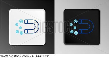 Line Magnet With Money Icon Isolated On Grey Background. Concept Of Attracting Investments, Money. B